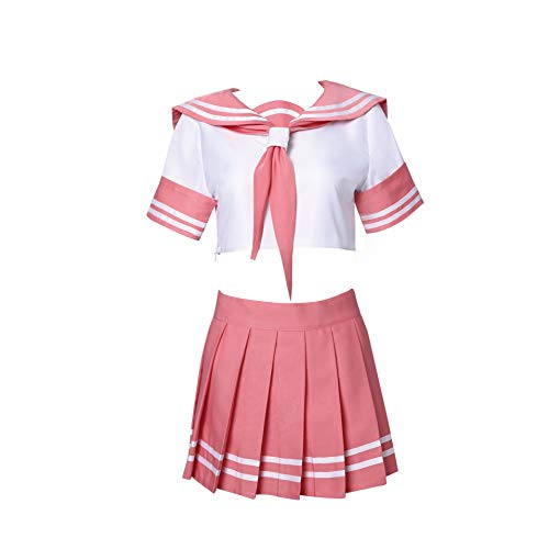 SBluuCosplay Astolfo Cosplay Outfit Costume School Uniform Pink Sailor Dress with Socks (Small)