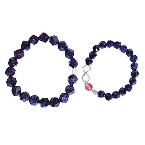wangk Un par de Pulseras de Pareja Blue Sandstone Estrellado Cielo Azul Fresa Cristal te Amo Regalo para Hombres y Mujeres Amigos