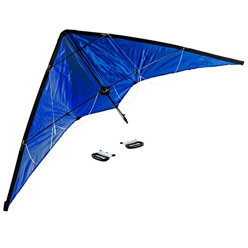Lenkdrachen 1,40 Meter, blau, 2x 50 Meter Drachenschnur, 2-Leiner, Drachen, Sportdrachen, Lenkdrache, Kite, Flugdrachen