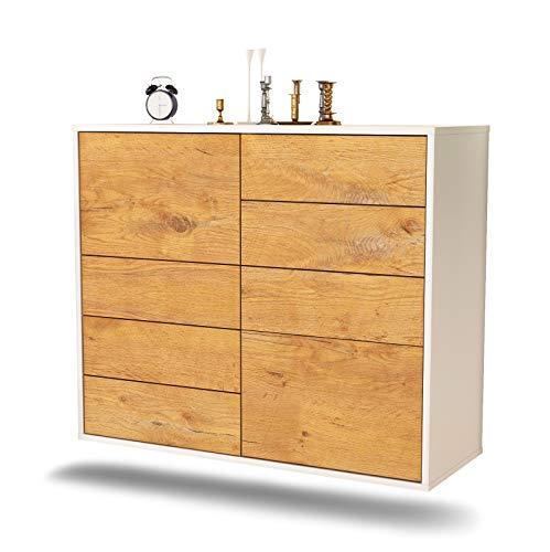 Dekati dressoir Paradise hangend (92x77x35cm) romp wit mat   front houten design   Push-to-Open modern eiken