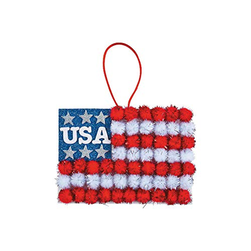 Fun Express Pom Pom American Flag Door Sign Craft Kit (Makes 12) Fourth of July Craft Kits for Kids