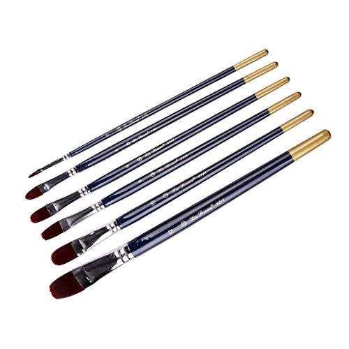 HBIN 6 unids/Set Mango de Madera Pluma de Pintura de Acuarela Pincel de Pintura de Artista Pelo de Nailon Mango de Madera Azul Oscuro Multiusos