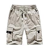 LINSINCH Bermudas Grande Taille Short Lin Homme Pantalons Ete Casual Extérieur Poche Travail Plage Baggy pour Hommes Sport Travail Camouflage Short De Bain (Blanc, 3XL)