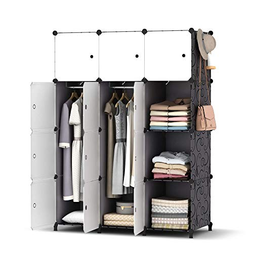 HOMIDEC Portable Wardrobe 12 Cube Closet with 2 Clothes Hanging Rods, Combination Armoire Modular Cabinet Space Saving Storage Organizer Unit for Bedroom Clothes Shoes Toys Books Towels