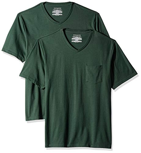 Amazon Essentials - Pack de 2 camisetas de corte holgado con cuello en V y bolsillo en el pecho para hombre, Verde (Dark Green Dar), US XL (EU XL - XXL)