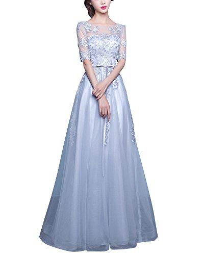 Damen A-Linie Spitzen Abendkleider Elegant Abschlussballkleider Kleid Hochzeitskleid Mit Stickerei Brautkleid Grau XS
