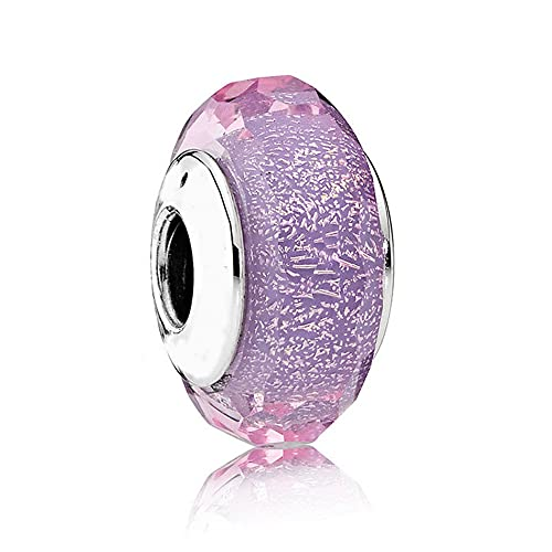 Pandora 925 plata esterlina DIY cuentas de cristal de Murano encantos de la joyería se ajustan a la pulsera de la señora pulsera púrpura brillante regalo de la señora encanto