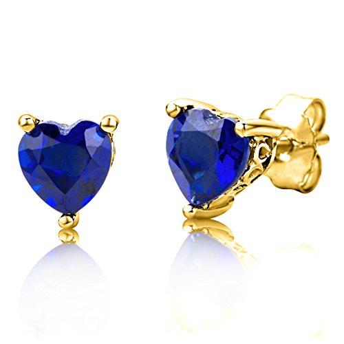 ByJoy Pendientes Mujer Plata de Ley (925/1000) Plata Corte Heart Azul Zafiro Sintético Zafiro