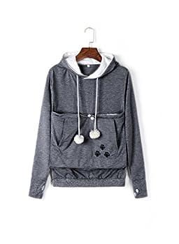 Unisex Big Pouch Hoodie Long Sleeve Pet Dog Holder Carrier Sweatshirt Dark Gray