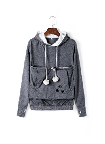 Unisex Big Pouch Hoodie Long Sleeve Pet Dog Holder Carrier Sweatshirt Dark Gray XL
