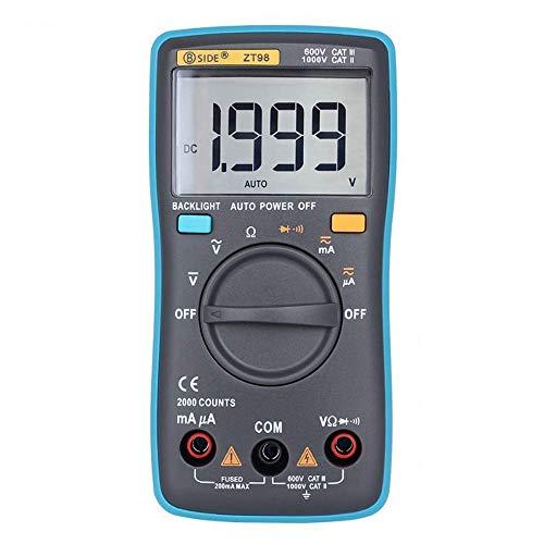 CENPEN Multímetro digital de 2000 cuentas de luz de fondo de escala automática DMM AC/DC voltaje del probador del amperímetro del voltímetro del medidor portátil de Ohm ZT98