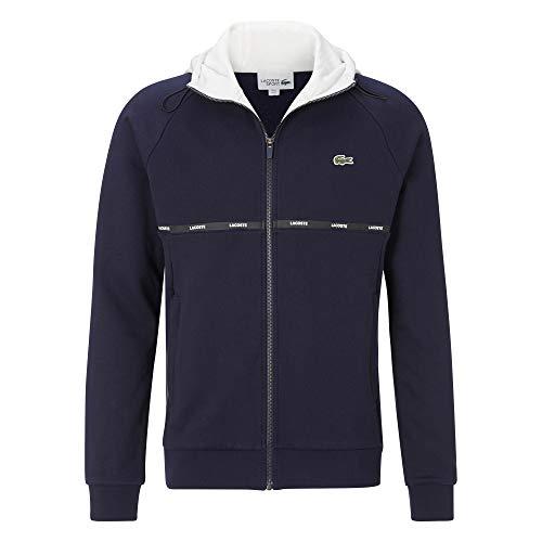 Lacoste Herren SH1518 Kapuzenjacke, Sweatshirt Kapuzenpullover Pulli Kapuze Reißverschluss Freizeit Sport,Navy Blue/Flour-White (QG5),4XL (9)