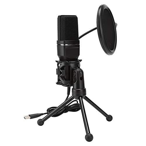 USB-microfoon, pc-condensatormicrofoon met enkelvoudig karakteristiek en opvouwbaar metalen statief voor laptop alles-in-één pc, geschikt voor het opnemen van muziek, computerzang of podcasting