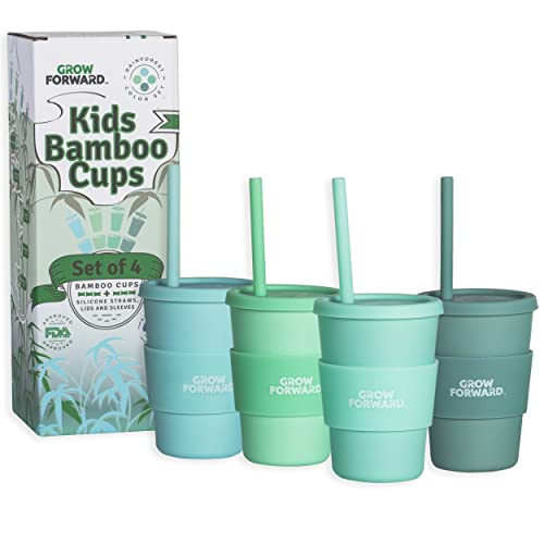 Grow Forward Bamboo Cups - Kids Cups with Straws and Lids - Eco Friendly BPA Free - Dishwasher Safe – Reusable 10 OZ Cups with Silicone Lids and Straws - Drinking, Smoothies - Rainforest