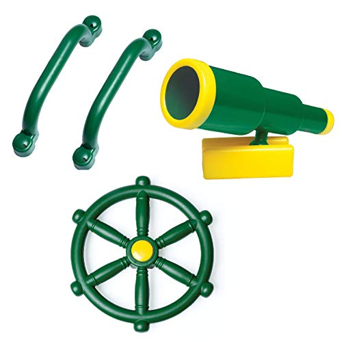 Playground Equipment Set with Kids Pirate Telescope, Steering Wheel & Safety Handle Bars for Jungle Gym