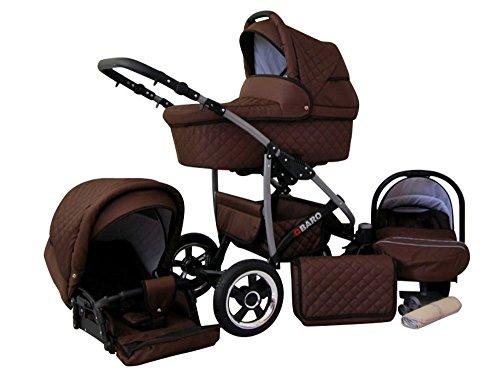 Lux4Kids Q Baro 3 in 1 Cochecito Combinado (asiento del coche incluye adaptadores, cubierta para la lluvia, mosquitero, ruedas giratorias 9 colores) 07 marrón