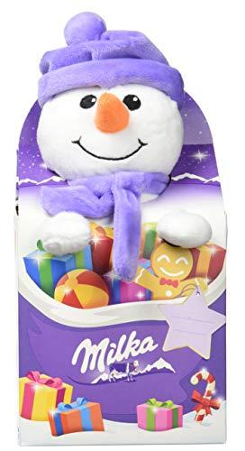 Milka Plüschtier Magic Mix  – Milka Kuh, Schneemann oder Rentier Kuscheltier kombiniert mit Milka Weihnachtsschokolade in drei möglichen Designs  – 96g