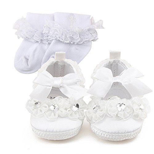 DELEBAO Babyschuhe Weiß Taufschuhe Baby Mädchen Hausschuhe Spitze Schuhe für Kleinkinder (Schuhe&Socken,0-3 Monate)