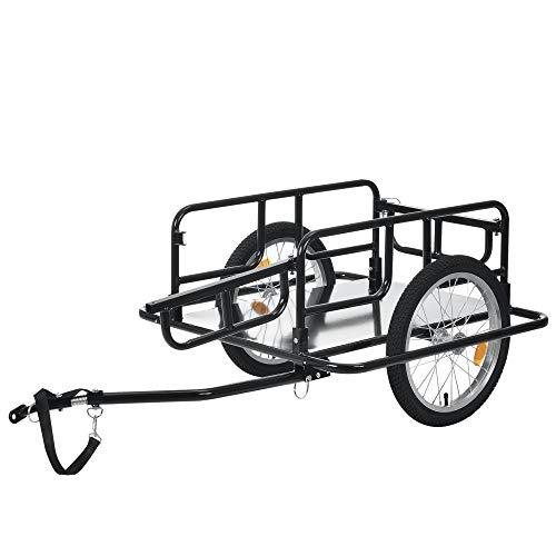 [pro.tec] Remolque de Bicicleta para Carga 130 x 72 x 49 cm Remolque para Transporte de Equipaje hasta 40 kg con Reflectantes de luz Negro