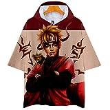 Naruto Cosplay Sudadera con Capucha de Manga Corta Video Juego Aficionados T-Shirt Pop Anime Logo Camiseta tee Tops Regalo hacia Hombre Mujer Niño Niña,Rojo,XXL