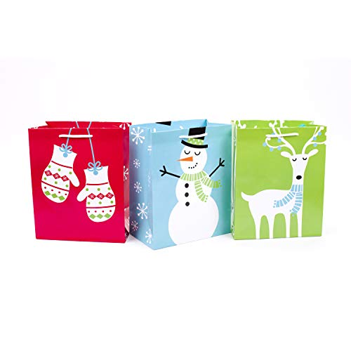 Hallmark 9' Medium Holiday Gift Bags (Pack of 3: Mittens, Snowman, Reindeer) for Christmas, Hanukkah, Birthdays and More