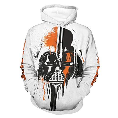 WellWellWell Sudadera con capucha de Darth Vader Star Wars, con bolsillos y cordón, para hombre y mujer, color blanco, XL