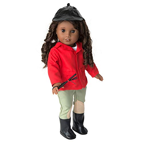Equestrian Horse Riding Doll Outfit (6 Piece Set) - Premium Handmade Clothes & Accessories for American Girl & All 18 Dolls - Premium Quality Apparel