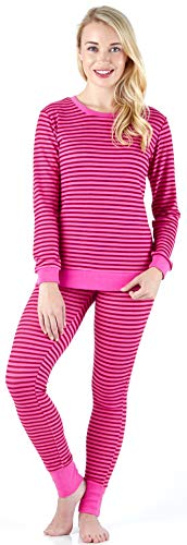 Sleepyheads Women's Sleepwear Long Sleeve Soft & Cozy Striped Knit 2-Piece Pajama Set