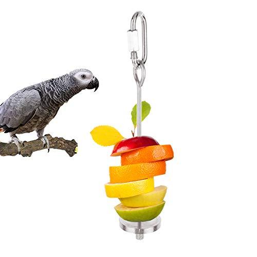 THETAG Papageien-Spieß,Vogelspielzeug Papageien Lebensmittel Aufsteckspindel Nahrungsmittelfleisch Frucht Stock Stangen Halter (S)