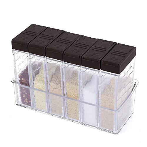 Gewürzdosen kunststoff,Transparente Gewürzstreuer, Aufbewahrungsbehälter mit Tablett und 2 Arten von Auslasslöchern, 6er-Set, Braun