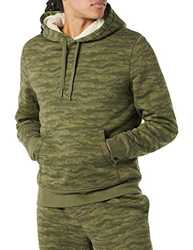 Amazon Essentials Sherpa-Lined Pullover Hoodie Sweatshirt Suéter de Meter, Camuflaje Abstracto, XL