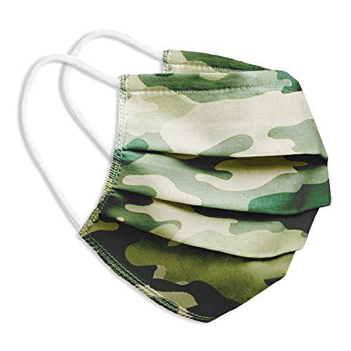 Behelfsmaske Alltagsmaske Community-Maske - Farbe camouflage grün - mehrfach verwendbar (waschbar) - mit Nasenclip - Behelfsmundschutz Mundbedeckung Spuckschutz