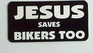 1080 Graphics 3 - Jesus Saves Bikers Too Christian Hard Hat/Helmet Stickers 1