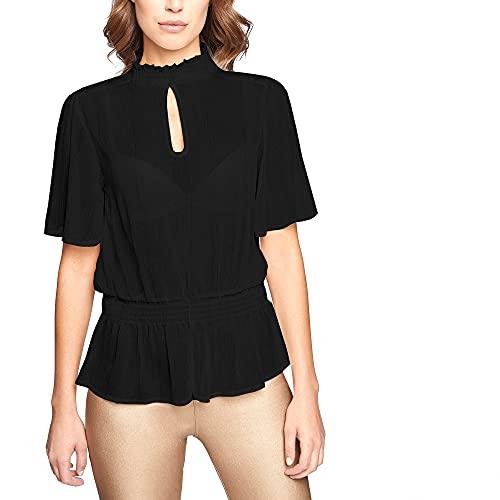 YAMAMAY Camicia Blusa da Donna in Chiffon a Maniche Corte - Party
