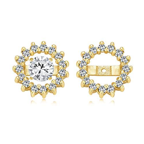 Giacca orecchini cubici Zirconia CZ Halo per borchie da donna 14K oro placcato 925 argento sterling (orecchini non inclusi)