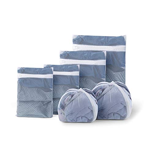 YYchan 6 Stück Groß Wäschenetz Wäschesäcke (4 Rechtecke und 2 Ovale),4 Rechtecke: 1-60X90CM, 1-50X70CM, 2-25X43CM;2 ovale:1-23X23X34CM,1-32X32X45CM, Laundry Bag,Washing Bag,