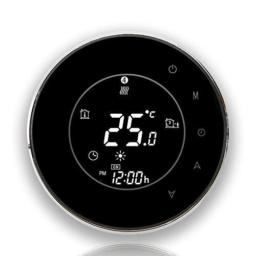 BecaSmart Serie 6000 Termostato Smart Wi-Fi Rotondo per 3A LCD Riscaldamento dell'acqua Telecomando Nero