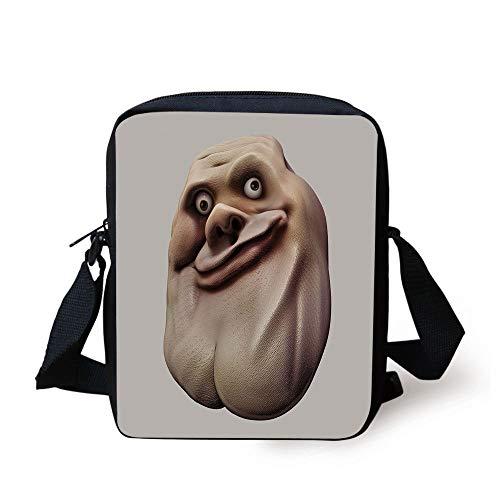 Humor Decor,Awkward Meme Face with Unusual Facial Gesture Ugly Mock Smug Forum Art Design,Pearl Tan Print Kids Crossbody Messenger Bag Purse