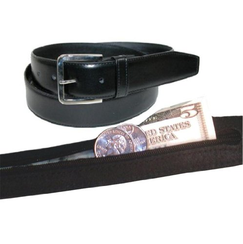 Men's Leather Money Belt Size 36 - Black