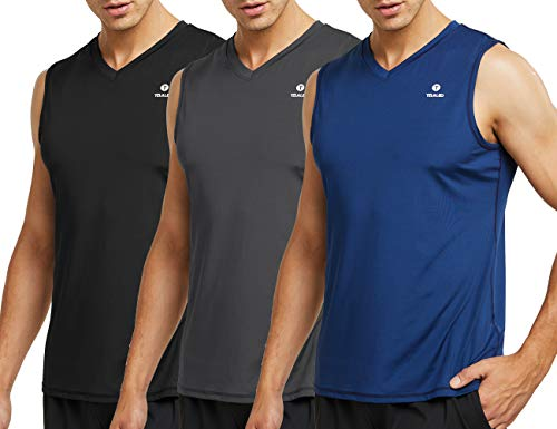 TELALEO Men's Performance Sleeveless Workout Tank Tops, Gym Muscle Bodybuilding Tank Vest Shirts Black/Gray/Blue Medium