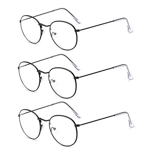 SUERTREE Metall Antiblaulicht Optische Brille Blaulichtfilter Augenoptik Oval Fashion Accessoire Black 3 PCS
