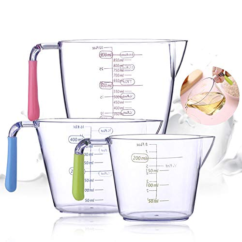 Jarra Medidora,Vaso Medidor,Juego de 3 Taza Medidora Plastico,taza medidora transparente,jarra de medición,jarra...