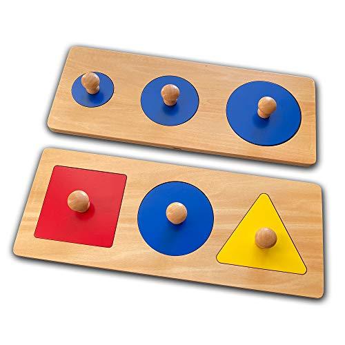 Montessori Multi Shape Wooden Puzzle Toy Baby Toddler First Jumbo Wood Peg Educational Basic Geometry