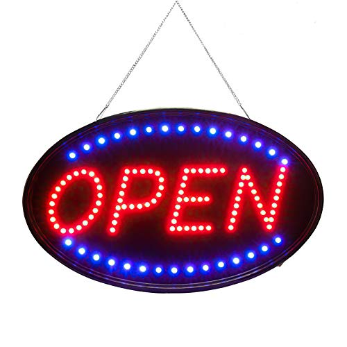SK Depot Larger LED Open Sign, 23x14 inches Brighter&Larger Advertising Board Electric Lighted Display -UL-Flashing or Steady Mode- Lighting Up for Holiday, Business, Window, Bar (Oval 23x14 inch)
