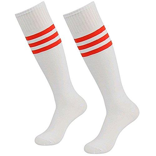 Dosige Streifen Kniestrümpfe Sport Strümpfe Overknee Sportsocken Lang Baseball Fußball Rugby Cheerleader Socks für Männer Frauen Damen Mädchen Weiß