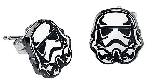 Star Wars Storm Trooper Set de Pendientes Standard, Acero Inoxidable,