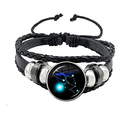 OYZK Aries/Tauro/Gemini/Leo/Virgo/Libra/Scorpio Signos DE Zodiaco Botón Pulsera de Cuero 12 Constelaciones Joyas para cumpleaños (Metal Color : 11)