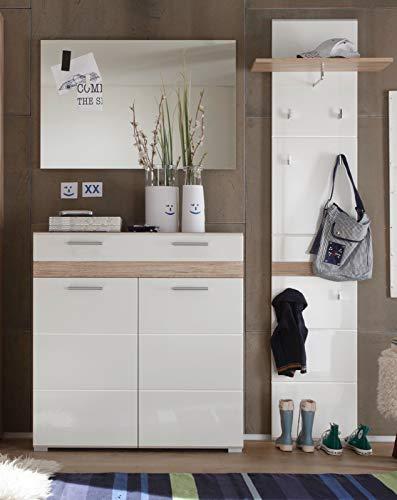 Garderobe SetOne Set 3-teilig in weiß Hochglanz und Eiche Flurgarderobe ca 161 x 195 cm