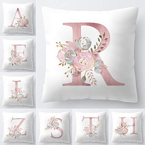 WWLZ Letter Kussen Cover 45x45cm Kamer Engels Alfabet Voor Thuis goederen 1PC Bloem Kussensloop Polyester
