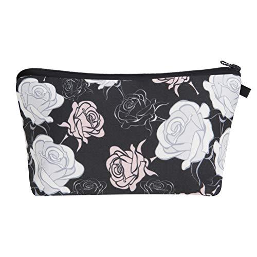 Lurrose La flor de Rose imprimió la bolsa cosmética portátil con cremallera del bolso de la bolsa de maquillaje para el viaje y el uso diario
